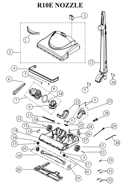 riccar r10e vacuum cleaner parts vacland vaclandriccar r10e part breakdowns