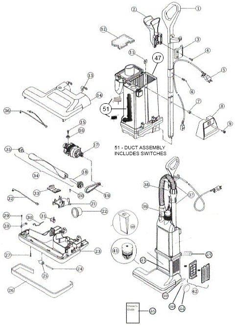 sanitaire model sc6600 vacuum parts