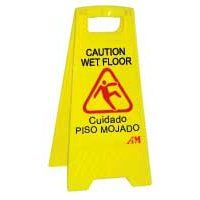 "Easel Sign Bilingual ""Caution Wet Floor"""